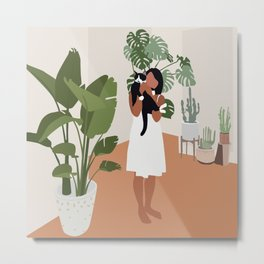 Plant lady and her cat Metal Print