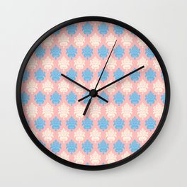 Vintage pastel coral blue ivory floral damask pattern Wall Clock