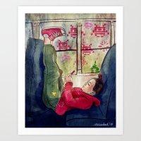 video games Art Prints featuring Girls & Video Games by Danielle Feigenbaum