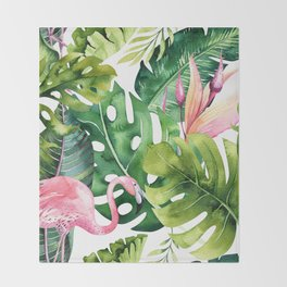 Tropical & flamingo collection Throw Blanket