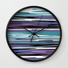 Abstract stripes in blue Wall Clock