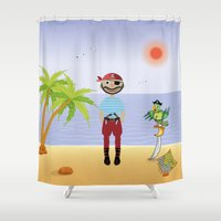 pirate Shower Curtains featuring Pirate by MyimagesArt