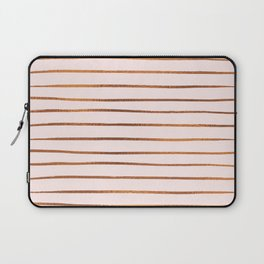 Blush Rose Gold Stripes Laptop Sleeve