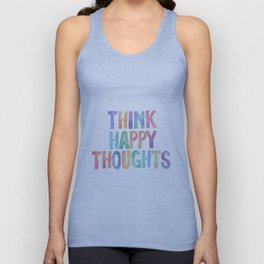 Think Happy Thoughts, Nursery Wall Art Kids Room, Nursery Printables, Baby Girl Nursery Wall Art Unisex Tank Top