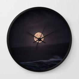 Full Moon over the Ocean Wall Clock