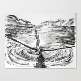 Waterline Monotype -- slackline Canvas Print