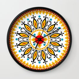Mandala warm colour pallette Wall Clock