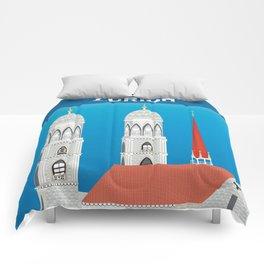Zurich, Switzerland - Skyline Illustration by Loose Petals Comforters