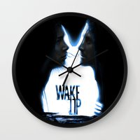donnie darko Wall Clocks featuring Wake up.....(Donnie Darko Fanart) by Emiliano Morciano (Ateyo)