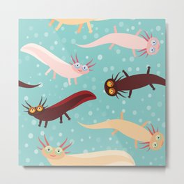 pattern Cute orange pink brown Axolotl Cartoon character on blue background in the aquarium Metal Print