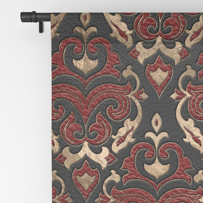 Persian Oriental Pattern - Black and Red Leather Blackout Curtain