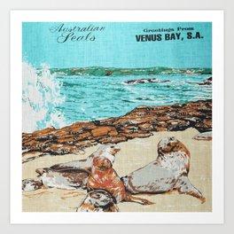 Vintage Venus Bay Tea Towel Art Print