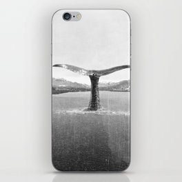 Whale In A French Lake in Black And White iPhone Skin