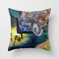 literary Throw Pillows featuring Literary Octopus by Sarah Sutherland