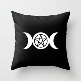 Goddess and Pentacle Symbols - White on Black Throw Pillow