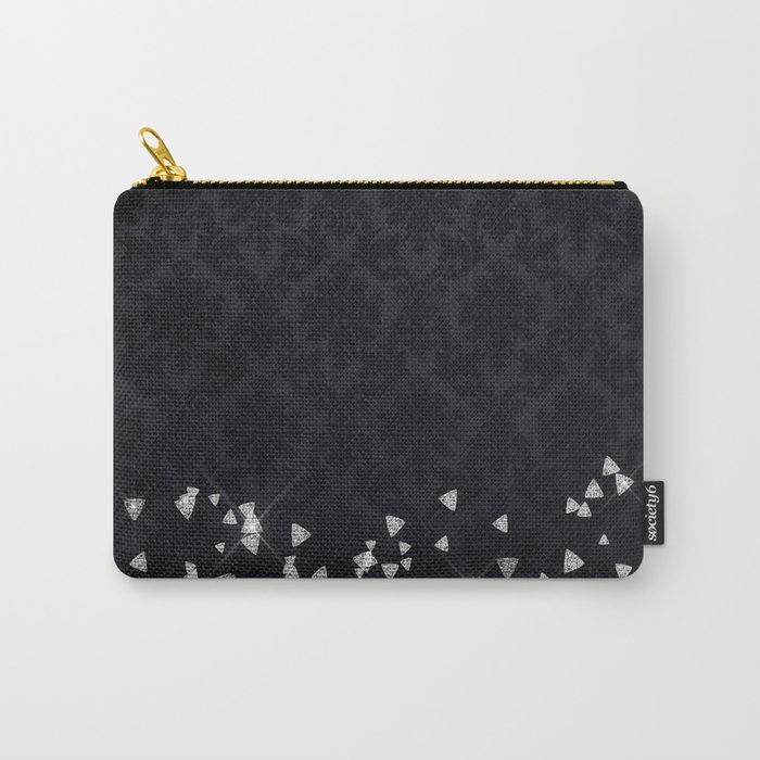 Glitter Diamonds on black damask - Luxury design Carry-All Pouch