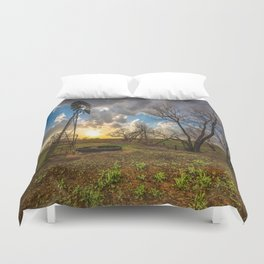 Twilight - Charred Landscape Comes Back to Life at Sunset in Kansas Duvet Cover
