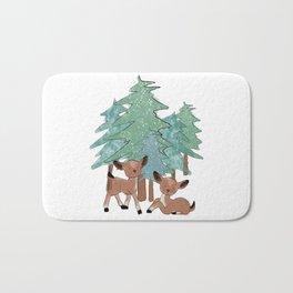 Little Deers In A Winter Landscape Bath Mat