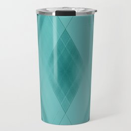 Wicker triangular strokes of intersecting sharp lines with aquamarine triangles and stripes. Travel Mug