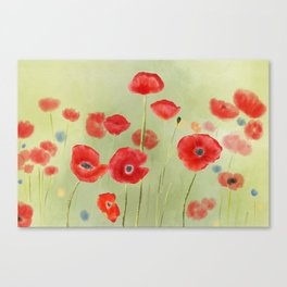 Hand Painted Poppies Canvas Print