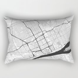 Detroit Map Gray Rectangular Pillow