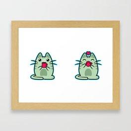 Cat Heart Coffee Framed Art Print