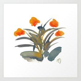 Atom Flowers #34 in orange and blue grey Art Print