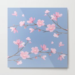 Square - Cherry Blossom - Serenity Blue Metal Print