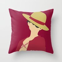 luffy Throw Pillows featuring Luffy by Polvo