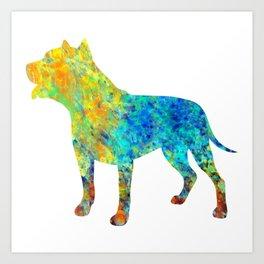 Pit Bull Dog Watercolor Art Art Print