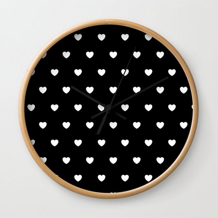 Hearts ((white on black)) Wall Clock