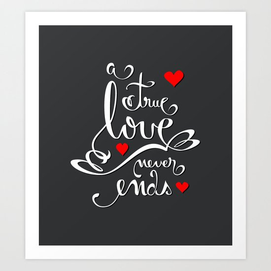 Valentine Love Calligraphy and Hearts V2 Art Print