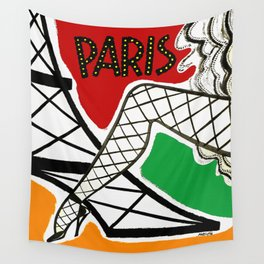 Vintage Paris France Travel Wall Tapestry