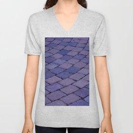 Radial Pavement Tiles Purple Modern Art Brick Pattern Cobble Stones Unisex V-Neck