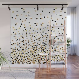 Floating Dots - Black and Gold on White Wall Mural