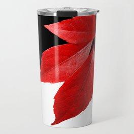 Red Leaf With Black & White Travel Mug