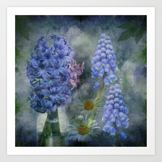 Painterly spring flowers on a grunge background Art Print