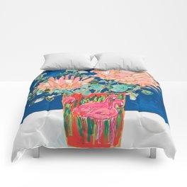 Protea in Enamel Flamingo Tumbler Painting Comforters