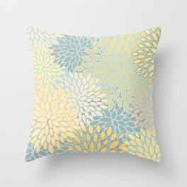 Floral Prints, Soft Yellow and Teal, Modern Print Art Throw Pillow