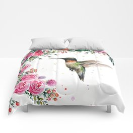 Hummingbird and Flowers Watercolor Animals Comforters
