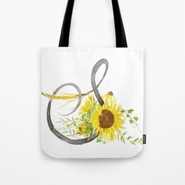 Letter S calligraphy watercolor flowers Tote Bag