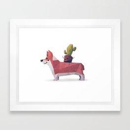 Cactus on Corgie Framed Art Print