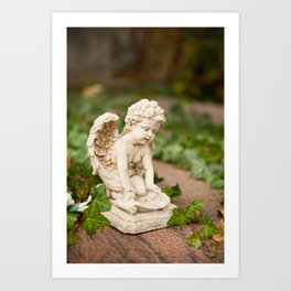Small angel statue kneel Art Print