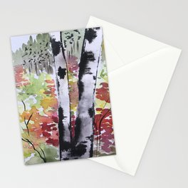 Birch Tree in Autumn Stationery Cards