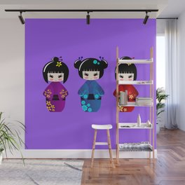 Cute kokeshi dolls cartoon Wall Mural