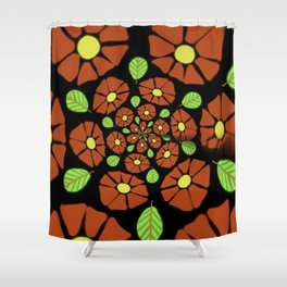 The Red Flower Polka Shower Curtain