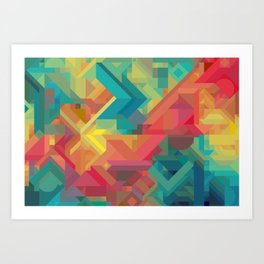 1990s Inspired Geometric Color Palette // VIBRANT ABSTRACT MULTI GRAPHIC Art Print