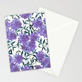 Botanical lavender purple forest green watercolor hortensia leaves Stationery Cards