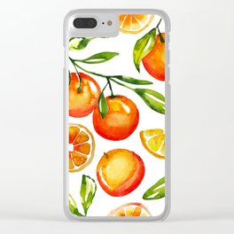 oranges watercolor tangerine fruit print Clear iPhone Case