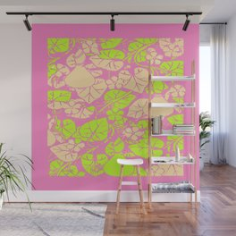 Delicate Pink Garden Art Lime Color Vines-leaves pattern Wall Mural